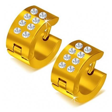 Lesklé kruhové ocelové náušnice zlaté barvy, čiré kamínky Šperky eshop