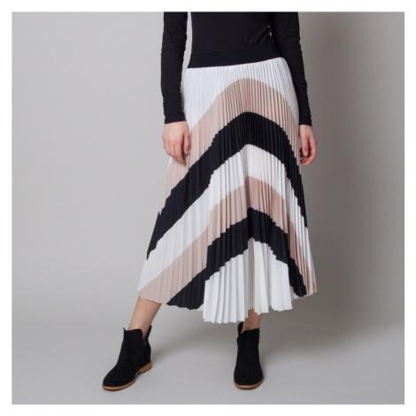 Plisovaná midi sukně s černými a béžovými pruhy 12625 Willsoor