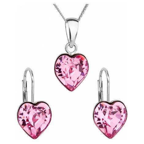 Sada šperků s krystaly Swarovski náušnice, řetízek a přívěsek růžové srdce 39141.3 Victum