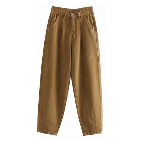 Módní dámské růžové džíny zelené denim kalhoty s vysokým pásem