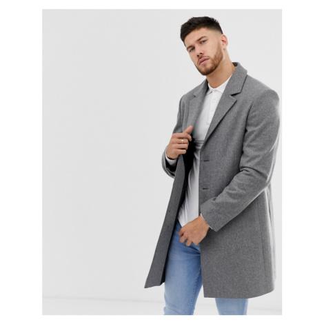 ASOS DESIGN wool mix overcoat in light grey