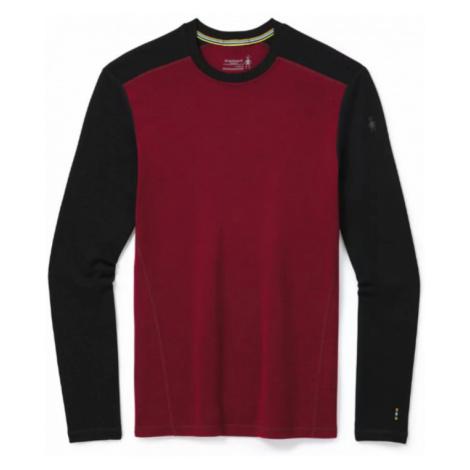 Pánské tričko Smartwool Merino 250 M Baselayer Crew tibetian red heather - black