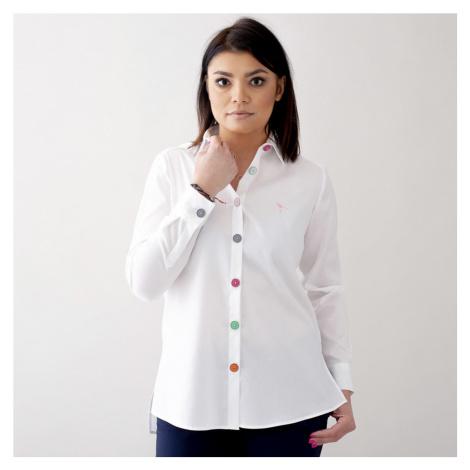 Dámská košile bílá s velkými barevnými knoflíčky 10682 Willsoor