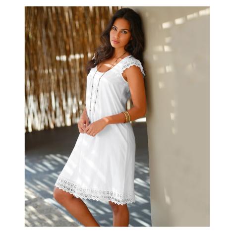 Blancheporte Šaty s macramé bílá