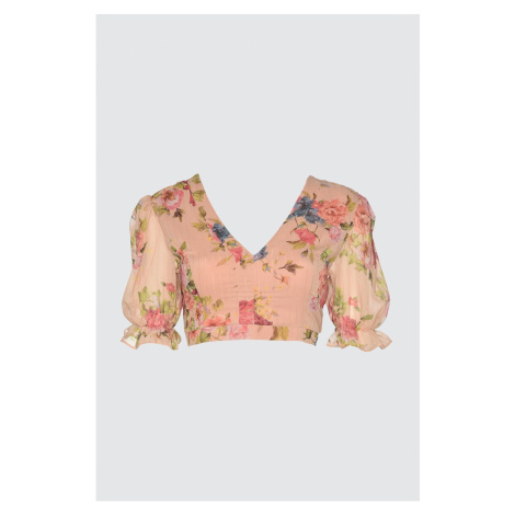 Trendyol Glitter Blouse with Pink Back Detail