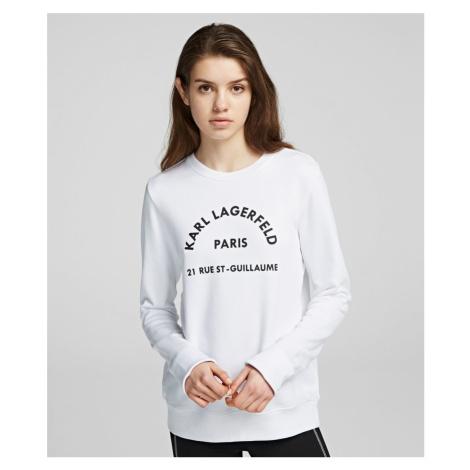 Mikina Karl Lagerfeld Address Logo Sweatshirt - Bílá