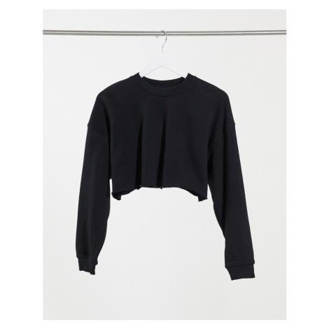Bershka organic cotton cropped sweat top in black