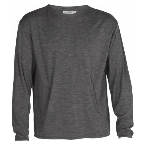 Pánské triko dlouhý rukáv ICEBREAKER Mens Deice LS Hand Pocket Crewe, Gritstone HTHR (vzorek)