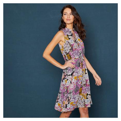Blancheporte Volánové šaty s květinovým patchwork vzorem, bez rukávů lila/černá