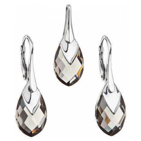 Sada šperků s krystaly Swarovski náušnice a přívěsek šedá slza 39169.4