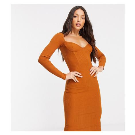 ASOS DESIGN Tall off shoulder rib panelled long sleeve midi dress in caramel-Brown