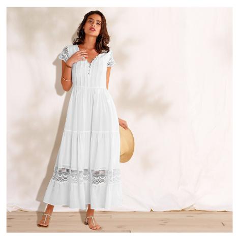 Blancheporte Dlouhé macramé šaty s volány bílá