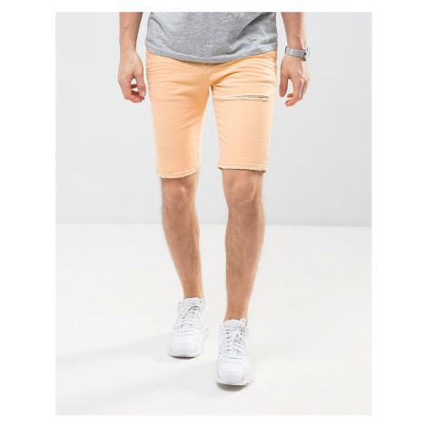 ASOS DESIGN Denim Shorts In Super Skinny Peach With Rips - Orange