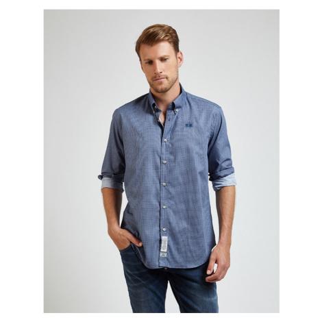 Košile La Martina Man Shirt L/S Poplin Printed - Modrá