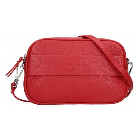 Trendy dámská kožená ledvinko crossbody kabelka Facebag - červená