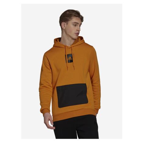 Černo-oranžová pánská mikina adidas Performance Q4 Fleece HD