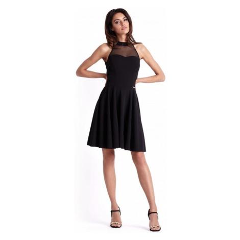 Dámské klasické šaty s kolovou sukní v černé barvě 237 IVON