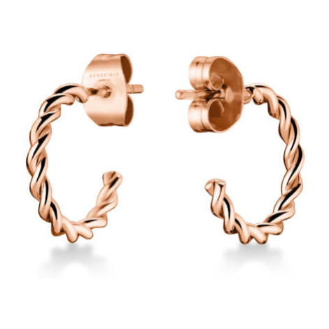 Rosefield náušnice TOC Hoop twisted Rose Gold