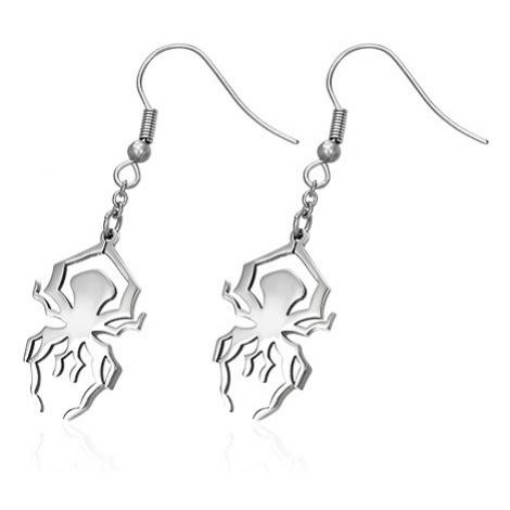 Ocelové náušnice ve stříbrném odstínu - lesklý pavouk na háčku Šperky eshop