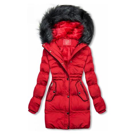 Červená zimní bunda se stahováním v pase Butikovo