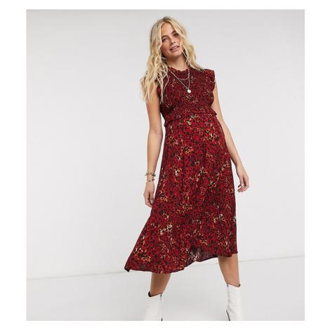 Pieces Maternity shirred midi dress in red animal print-Multi