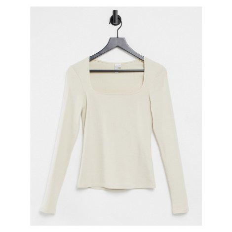 & Other Stories square neck knitted top in light beige