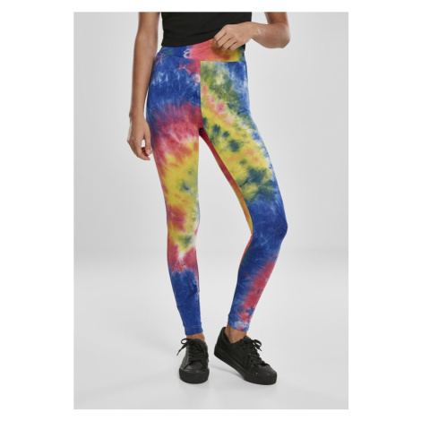 Ladies Tie Dye High Waist Leggings - royalblue/brightyellow Urban Classics
