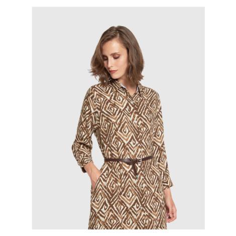 Šaty La Martina Woman Dress L/S Twill - Hnědá