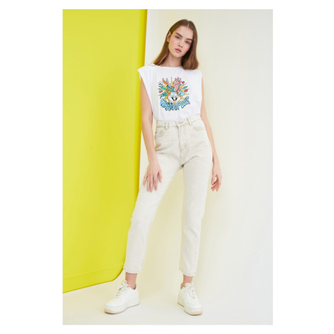 Trendyol Beige High Waist Mom Jeans