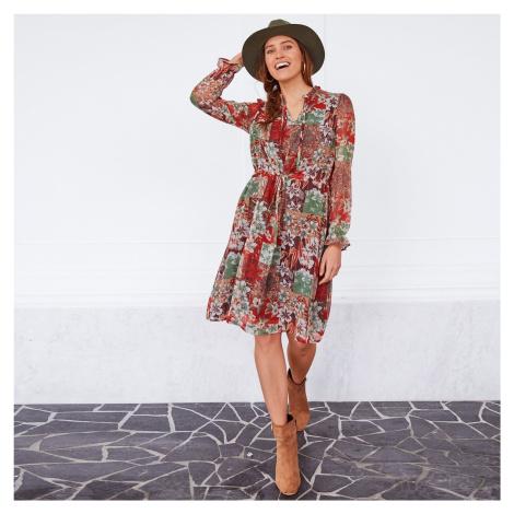 Blancheporte Volánové šaty s květinami khaki/béžová