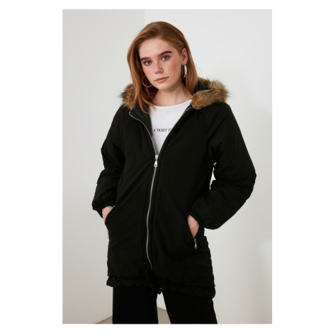 Trendyol Black Hooded Coat