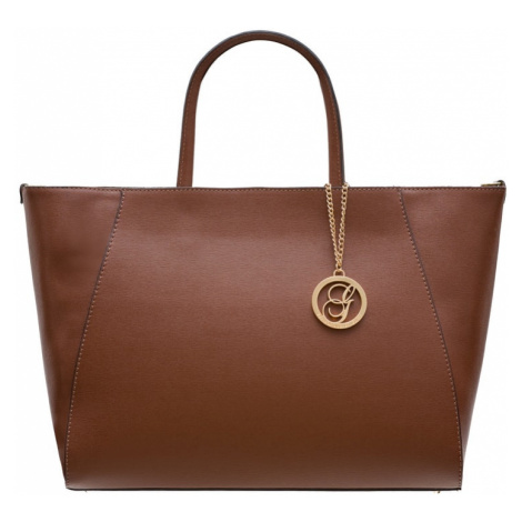 Dámská kabelka se safiánové kůže jednoduchá - hnědá Glamorous