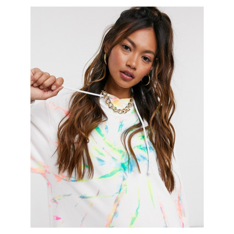 Jaded London oversized hoodie in rainbow tie-dye co-ord-White