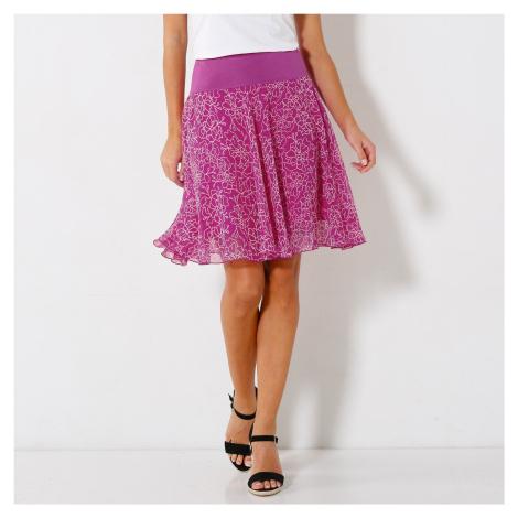 Blancheporte Rozšířená sukně s potiskem květin purpurová
