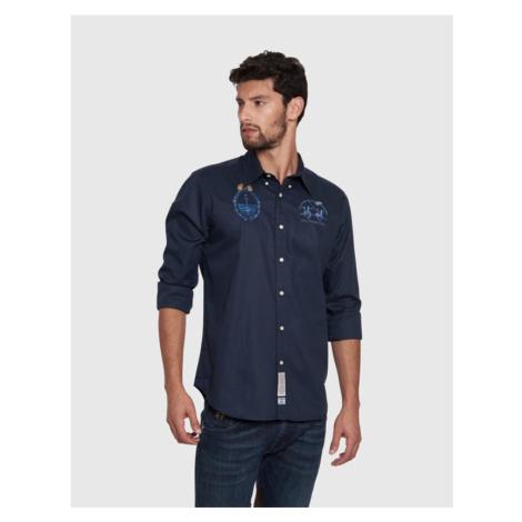 Košile La Martina Man Shirt L/S Light Cotton Twi - Modrá