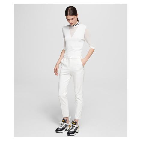 Kalhoty Karl Lagerfeld Punto Pants W/ Logo Tape - Bílá