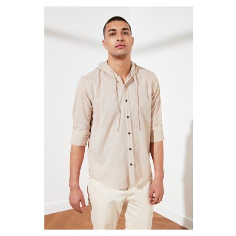 Trendyol Camel Men's Long Sleeve Regular Fit Hooded Shirt