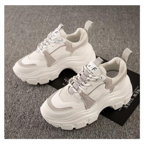 Stylové vysoké tenisky na platformě módní boty s tkaničkami