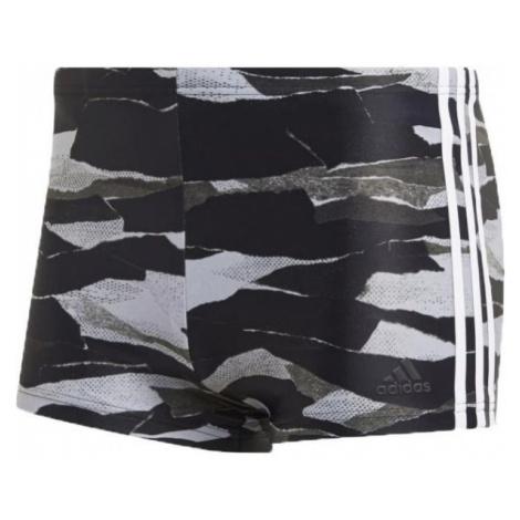 adidas FITNESS 3-STRIPES GRAPHIC SWIM BOXER šedá - Pánské plavecké šortky