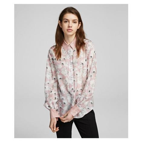 Košile Karl Lagerfeld Orchid Print Silk Shirt - Růžová