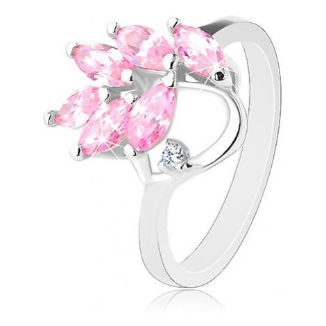 Prsten s lesklými rameny, větvička s růžovými zirkonovými lístky Šperky eshop
