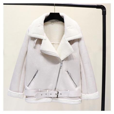 Dámská kožená teplá bunda s kožíškem a páskem