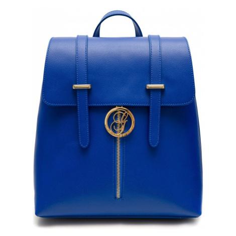 Dámský kožený batoh na patenty ražený - královsky modrá Glamorous