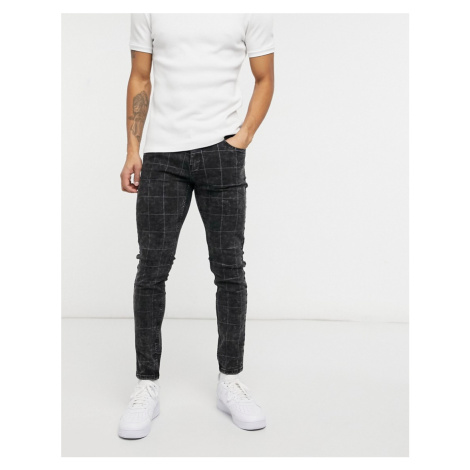 Bershka skinny fit tailored trousers in light grey check