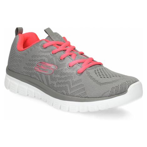 Sportovní růžovo-šedé tenisky dámské Skechers