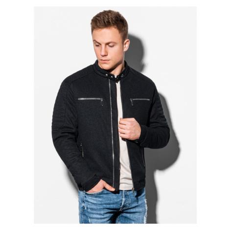 Ombre Clothing Trendová černá přechodná bunda C461