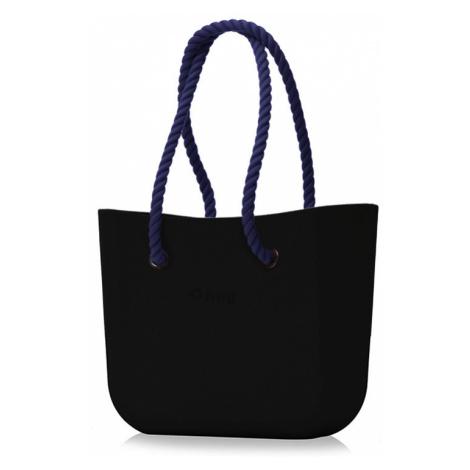 Kabelka obag černá s provazem modrá O bag