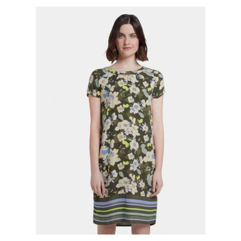 Tmavě zelené dámské květované šaty Tom Tailor
