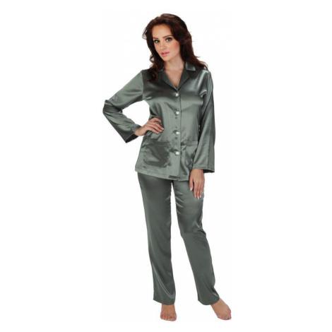 De Lafense Dámské saténové pyžamo Classic dlouhé šedé