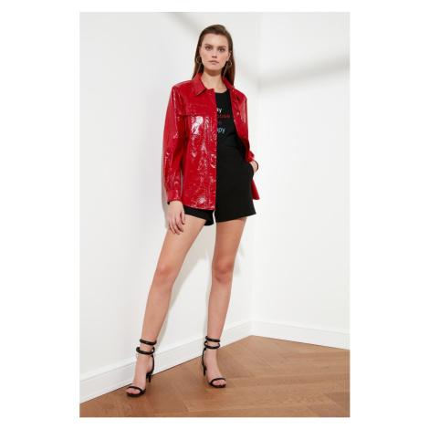 Trendyol Red Wrinkle-Looking Rugan Jacket Mont